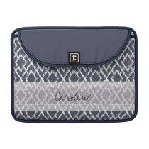 Monogram Navy Blue Tribal Ikat Diamond Pattern MacBook Pro Sleeve