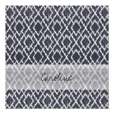 Aztec Themed Monogram Navy Blue Tribal Ikat Diamond Pattern Poster