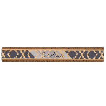 Aztec Themed Monogram Navy Blue Tribal Ikat Diamond Pattern Ruler