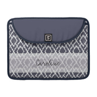 Monogram Navy Blue Tribal Ikat Diamond Pattern Sleeves For MacBook Pro