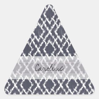 Monogram Navy Blue Tribal Ikat Diamond Pattern Triangle Sticker