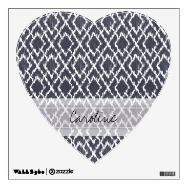 Aztec Themed Monogram Navy Blue Tribal Ikat Diamond Pattern Wall Sticker