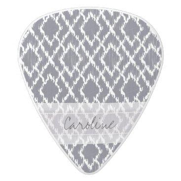 Aztec Themed Monogram Navy Blue Tribal Ikat Diamond Pattern White Delrin Guitar Pick