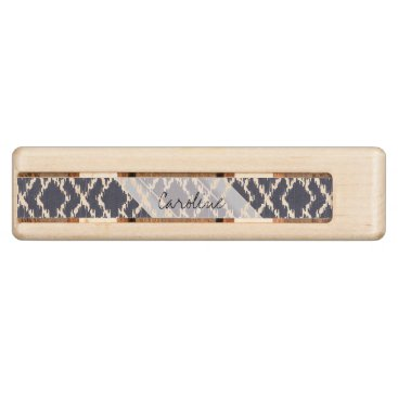 Aztec Themed Monogram Navy Blue Tribal Ikat Diamond Pattern Wood Cribbage Board
