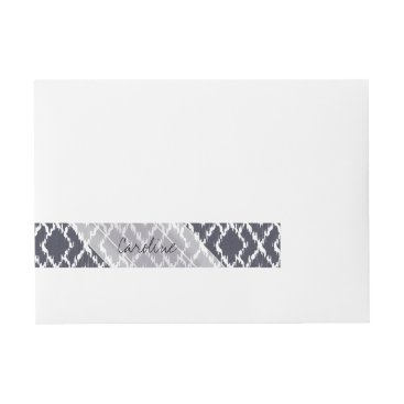 Aztec Themed Monogram Navy Blue Tribal Ikat Diamond Pattern Wrap Around Address Label