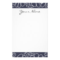 Monogram Navy Blue Whimsical Ikat Floral Pattern Stationery