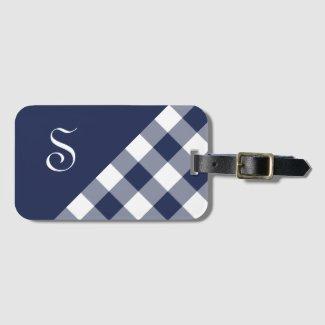 Monogram Navy Blue White Buffalo Check Geometric Luggage Tag