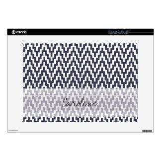 Monogram Navy Blue White Ikat Chevron Geo Pattern Decals For Laptops