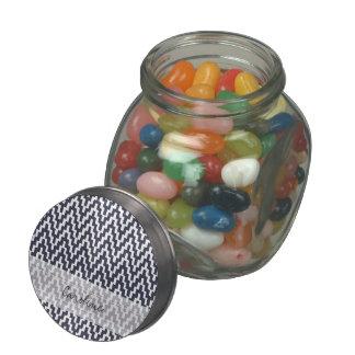 Monogram Navy Blue White Ikat Chevron Geo Pattern Jelly Belly Candy Jar
