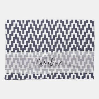Monogram Navy Blue White Ikat Chevron Geo Pattern Kitchen Towel