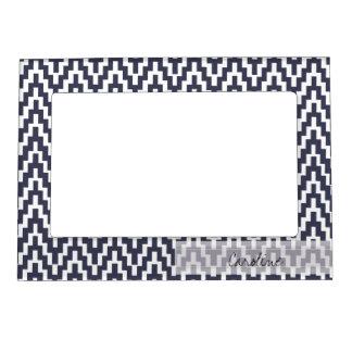 Monogram Navy Blue White Ikat Chevron Geo Pattern Magnetic Photo Frame