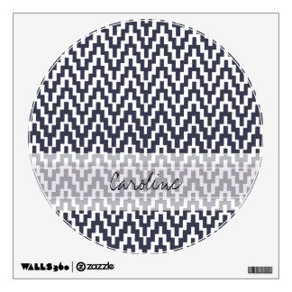 Monogram Navy Blue White Ikat Chevron Geo Pattern Wall Sticker