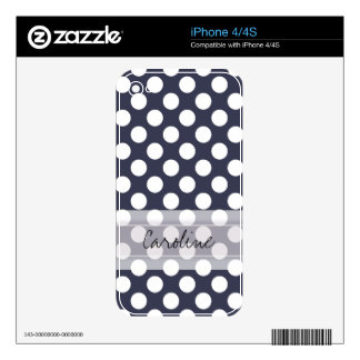 Monogram Navy Blue White Trendy Polka Dot Pattern Decals For The iPhone 4S
