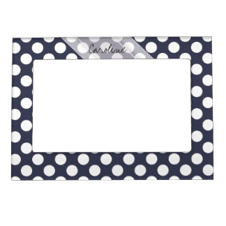 Monogram Navy Blue White Trendy Polka Dot Pattern Magnetic Photo Frame