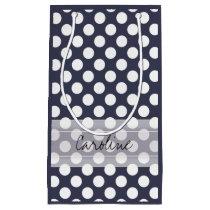 Monogram Navy Blue White Trendy Polka Dot Pattern Small Gift Bag