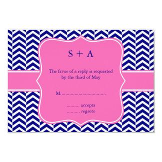 Monogram Navy Blue with Hot Pink Chevron RSVP Card