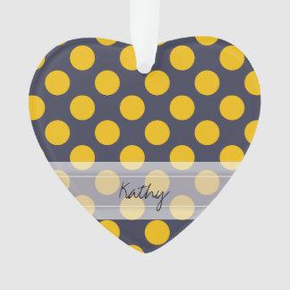 Monogram Navy Blue Yellow Chic Polka Dot Pattern