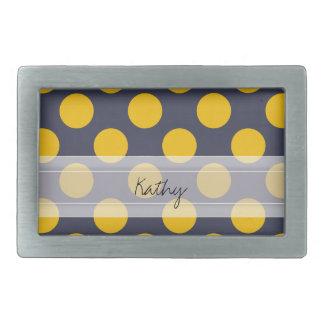 Monogram Navy Blue Yellow Chic Polka Dot Pattern Belt Buckle