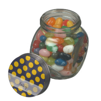 Monogram Navy Blue Yellow Chic Polka Dot Pattern Glass Jars
