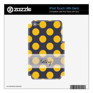 Monogram Navy Blue Yellow Chic Polka Dot Pattern iPod Touch 4G Skin