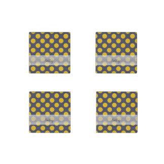 Monogram Navy Blue Yellow Chic Polka Dot Pattern Stone Magnet