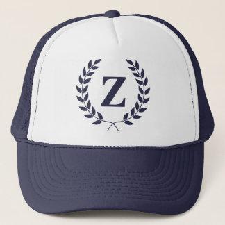Monogram Navy Laurel Wreath hat
