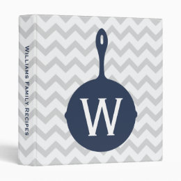 Monogram Navy Skillet + Gray Chevron Recipe Binder