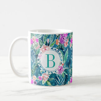 Monogram NAVY TROPICAL PARADISE Hawaiian Hibiscus Coffee Mug