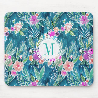 Monogram NAVY TROPICAL PARADISE Hawaiian Hibiscus Mouse Pad