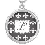Monogram Necklace - Fleur de Lis Letter L