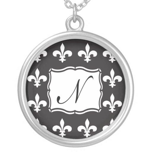 Monogram Necklace - Fleur de Lis Letter N
