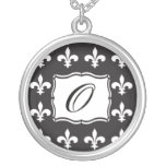 Monogram Necklace - Fleur de Lis Letter O