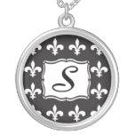 Monogram Necklace - Fleur de Lis Letter S