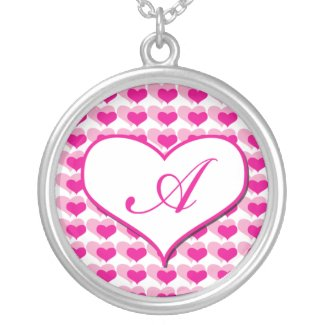 Pink Heart monogram necklace