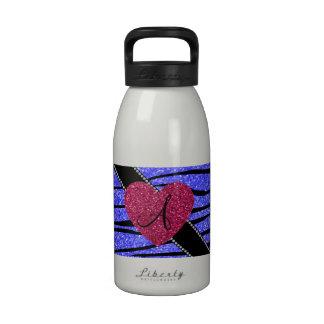 Monogram neon blue glitter zebra stripes heart reusable water bottle
