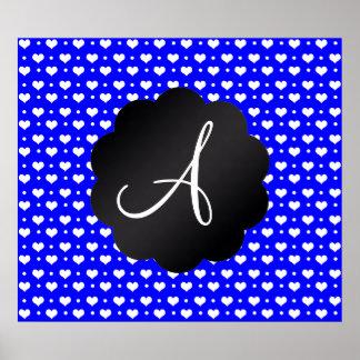 Monogram neon blue hearts polka dots poster