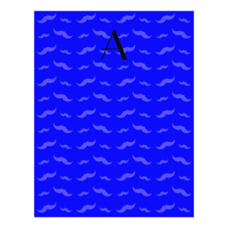 "Monogram neon blue mustache pattern 8.5"" x 11"" flyer"