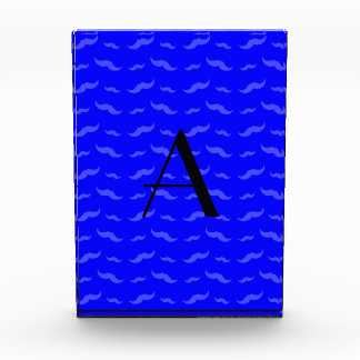 Monogram neon blue mustache pattern awards