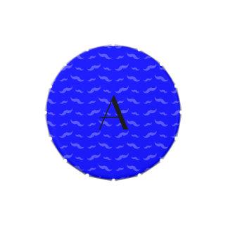 Monogram neon blue mustache pattern jelly belly tins