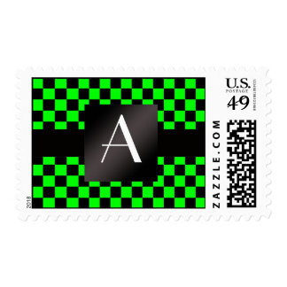 Monogram neon green and black checkers postage