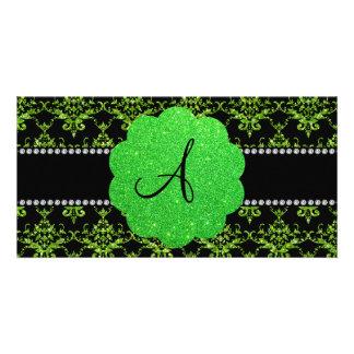 Monogram neon green glitter damask photo card