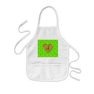 Monogram neon green gold anchors heart kids' apron