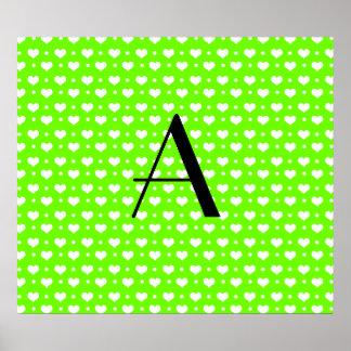 Monogram neon green hearts polka dots poster