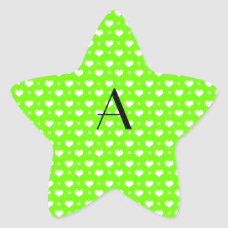 Monogram neon green hearts polka dots star sticker