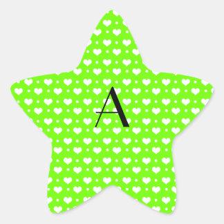 Monogram neon green hearts polka dots star sticker