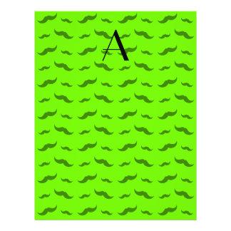 "Monogram neon green mustache pattern 8.5"" x 11"" flyer"