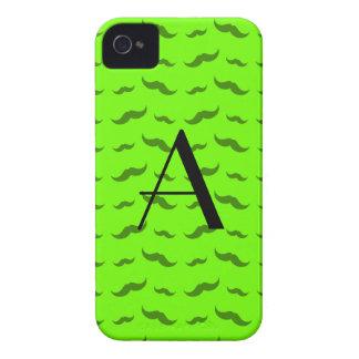 Monogram neon green mustache pattern iPhone 4 cover