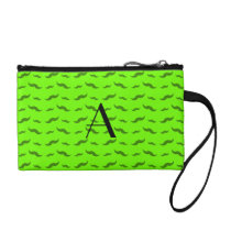 Monogram neon green mustache pattern change purse
