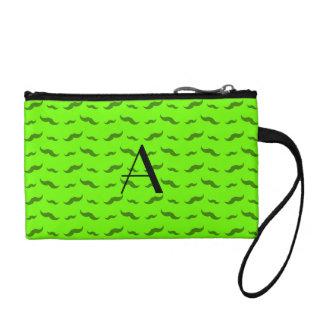 Monogram neon green mustache pattern change purse