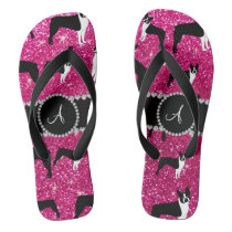 Monogram neon hot pink glitter boston terriers flip flops